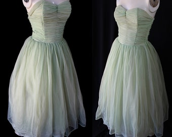 50s 60s Pale Green Party Prom Dress Vintage Wedding