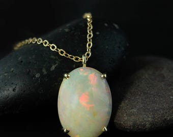 Yellow Gold Australian Opal Necklace - Oval Opal Necklace - Prong Set Opal