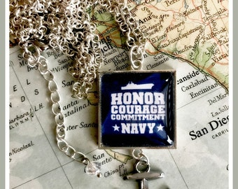 US Navy honor courage commitment necklace by Son and Sea free US shipping
