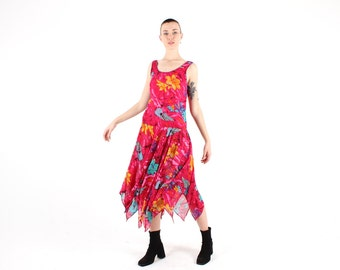 SALE - 80s 'ADINI' Indian GAUZE Floaty Floral Fairy Hippie Maxi Dress / Festival / Gypsy w/ Jagged Handkerchief Hem