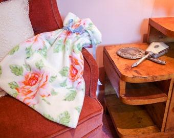 Pyjama Bag - Cottage Rose Print - Lingerie Bag - Shoe Bag - Stocking Bag - Wash Bag - Drawstring Bag - Mothers Day Present or Travel Gift