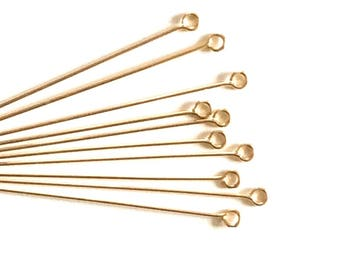 """Free Ship 10pcs Eye Pins 14k Gold Filled 2"""" 22ga 22 gauge Wire Connector / Findings / Yellow Gold 97271"""