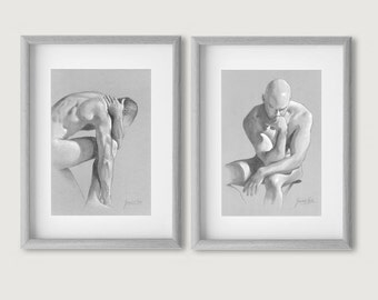 Set of 2 Male Nude, Male Body, Male Body Sketch, Erotic Sketch Print, 2 Nude Prints, Male Nude Picture, Erotic Illustration, Drawing PRINTS