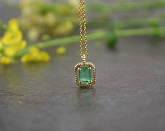 Genuine Emerald Pendant - Emerald Cut - May Birthstone Necklace - 14K Yellow Gold - Small, Delicate, Great Mother's Day Gift!