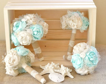 Wedding Bouquets Mint Beach Set Rustic Bride Bridesmaid Bouquet Beachy Chic Burlap and Lace Peony Flowers Wedding Party Mint and Ivory