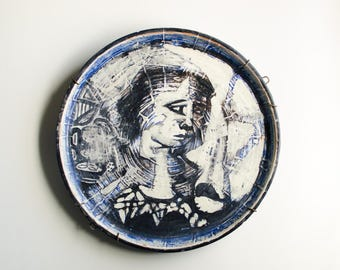 Vintage Large Handmade Art Pottery Plate Wall Hanging by Artist R. Bousman - Mid Century