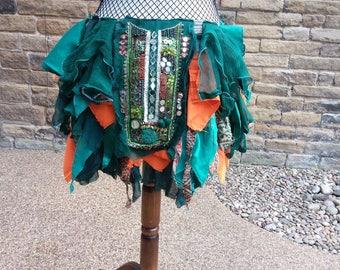 Tribal belly dance bustle, Burning Man festival, or burlesque cabaret costume, pixie tatter over skirt, repurposed clothing, READY MADE gift
