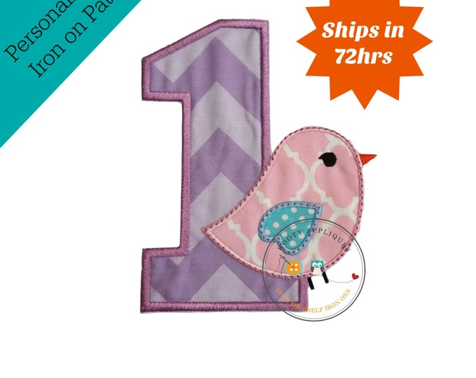 Sweet tweet first birthday purple number one machine embroidered fabric iron on no sew patch,  first birthday patch for kids clothing