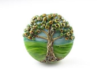 Large Lampwork Glass Blossom Tree Focal Bead