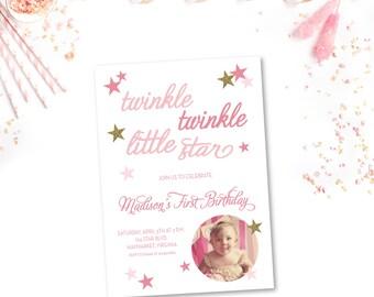 Twinkle Twinkle Little Star Birthday Photo Invitation - 5x7 Birthday Photo Invitations - Printed or Printable - Free Shipping