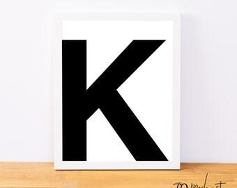 Letter K, Typography Print, Letter Print, Printable Monogram, Printable Art, Minimal Decor, Black and White Wall Art, Digital Download