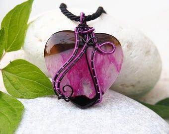 Fuchsia Heart pendant ~ Wire wrapped gemstone ~ Handmade jewelry
