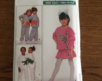 Children's Top, Skirt and Pants Pattern, Stretch Knit Sweat Suit Sewing Pattern, 80's 90's Costume, Butterick 5793 Size 2, 3, 4