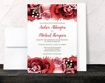 Red Rose Wedding Invitations - Rustic Red Pink Rose with Green on White Floral - Printed Invitations
