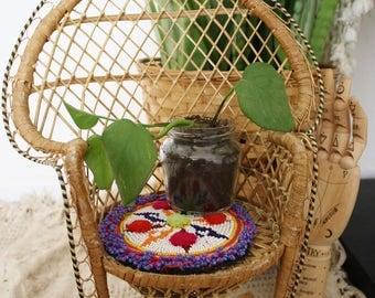 Vintage beaded Kuchi patch, Bohemian Beaded Coaster, Tribal beadwork Boho home decor Plant stand Pot stand
