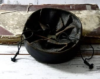 Antique Leather Collar Box Black Drawstring Bag Victorian Man Accessories Late 1800's