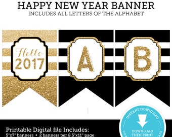 Happy New Year Banner - New Years Eve Decoration - New Years printable - New years Decoration - Glitter Printable - INSTANT DOWNLOAD