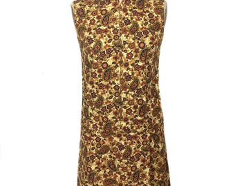 vintage 1960's paisley romper / batik / cotton / onesie jumpsuit playsuit / boho bohemian / women's vintage romper / size medium