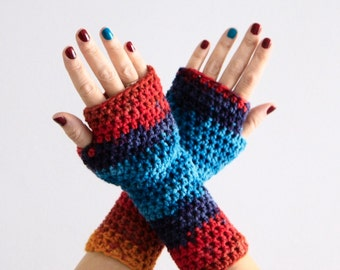 Crochet gloves, fingerless gloves, fingerless mittens, turquoise red gloves, winter fashion, wrist warmers, hand warmers, ready to ship