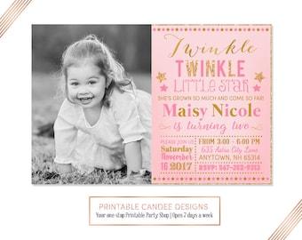 Twinkle Twinkle Little Star Birthday Invitation, Pink and Gold Glitter Invitation, Star Birthday, Girl 2nd Birthday