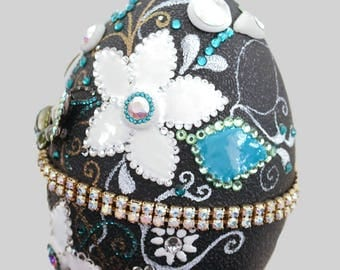 Easter Decorated Egg, Emu Egg Shell, Collectible Emu Shell Egg, Liquid Enamel Flowers ,Swarovski crystal egg shell, Exclusive Gift