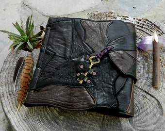 Black Patchwork Leather Notebook with Antique Key Steampunk Journal Blank Page Notebook Recycled Leather Journal