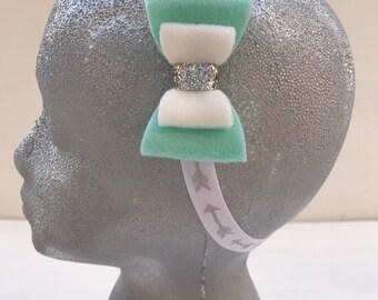 Aqua  and white bow headband~Elastic headband~Prop~Photo prop~Photography prop~Gift~Wedding~Flower girl~Present~Baby girl~Headband