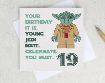 Star Wars Yoda Birthday Card - any age - personalized - star wars card - yoda birthday - starwars birthday card - minifigure card - UK