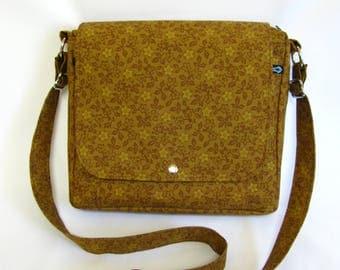 Large messenger bag- Honey tan/brown floral cotton