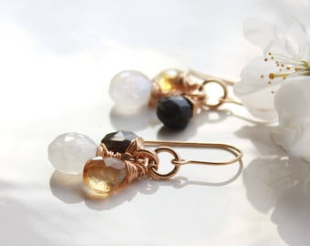 Gemstone Trio Cluster Earrings, Moonstone, Citrine, Labradorite, Gold Filled wire wrap, white, yellow, blue, boho chic, holiday gift for her