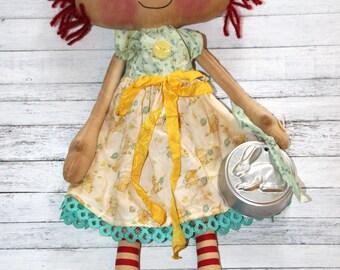 Sweet Easter Bunny Emma Anne - Primitive Raggedy Ann Doll