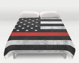 Thin Red Line Comforter or Duvet Cover Set - Matching Pillows - Twin, Twin XL, Full, Queen, King - American Flag