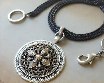 Antique Button Necklace multi chain black, French Filigree Button 1800's, Multi Chain Necklace Black, Antique Button Jewelry veryDonna
