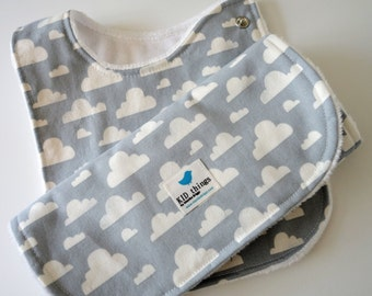 Baby Bib and Burp Cloth Gift Set for Boy or Girl, Gender Neutral - Clouds on Gray / Grey Cotton, White Minky Back, Set of 2