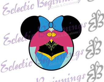Disney Digital File, DIY Print Iron On-Disney Princess Anna Minnie Mouse Ears JPG File