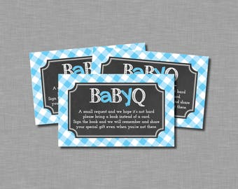 Blue Baby Q Bring a Book Shower Tickets Noah BB18 Printable - Instant Download