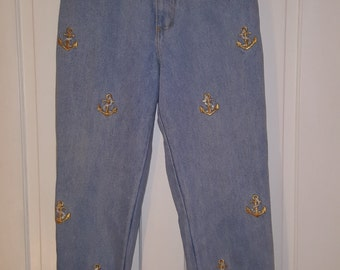 80's The LA COSTA SPA California Jeans // Gold Silver Metallic Anchor Denim Jeans Size 12 High Waisted Mom Jeans Cruise Sailing