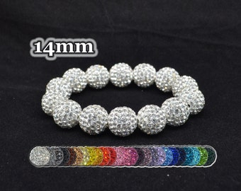 White Pave Crystal Ball Bead Stretch Bracelet - 14mm - 1414B