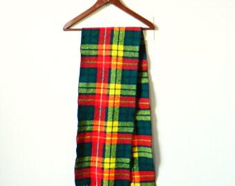 Bright Vintage Wool Plaid Scarf / Bold Retro 1960s Scarf / Plaid Lumberjack Scarf