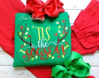 Christmas shirt- Tis the season shirt- Christmas antlers shirt