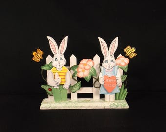 Happy Easter Wooden Rabbits Fence Decoration