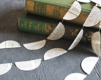 Book Theme Party Decorations, Paper Garland, Book Page Garland, Dictionary Pages, Paper Bunting, Vintage Book Party Decorations, 10 ft long
