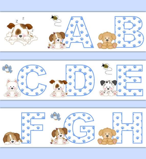 Baby Nursery Art Print Dog Abc Nursery Decor Alphabet Print: PUPPY NURSERY DECOR Alphabet Wallpaper Border Wall Art Decals