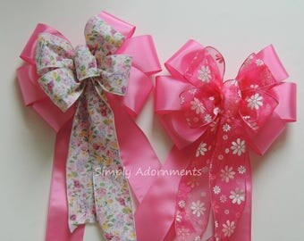 Pink Floral Basket Gift Bow Pink Spring Flowers Wreath Bow Pink Floral Door Hanger Bow Pink birthday Party Decor Flower Basket Gifts Bow