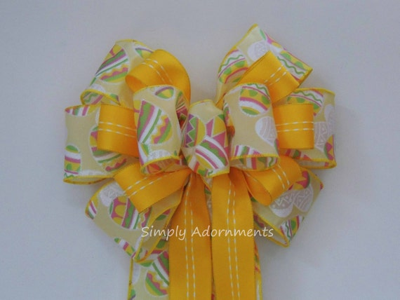 Easter Wreath Bow Yellow Easter Eggs Door Hanger Bow Easter Basket Gift Bow Yellow Easter Wreath Door Bow Easter Gift Bow Easter Swag Bow