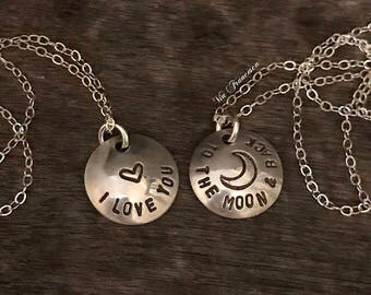 Sterling Necklace Set - Set of 2 Hand Stamped Sterling Silver Necklaces - I Love You to The Moon And Back - Custom - Personalized