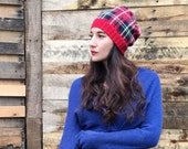 Red Plaid Cotton Beanie Winter Hat - from reclaimed materials