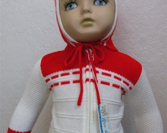"1960's ""Little Angel""  Red and White Zip Up Hoodie / Deadstock / Size: 1 to 3 Months"