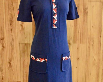 1960s Red White & Blue Mod Shift, Sixties Patriotic Short Sleeve Dress, Double Knit Navy Dress w/ Buttoned Short Sleeves and Round Collar