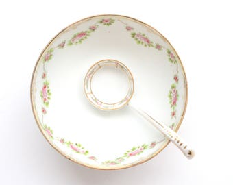 Antique, Hand Painted Mayonnaise Bowl with Mismatched Ladle by Nippon,  Gifts for Her - ca. 1911+